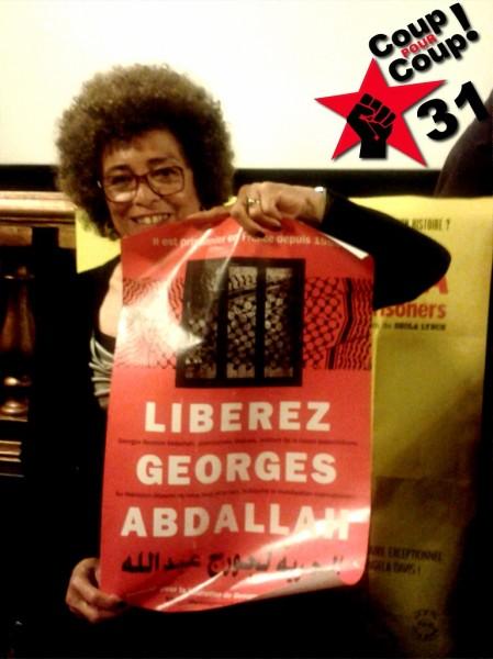 Soutien d'Angela Davis à Georges Ibrahim Abdallah lors de son passage à Toulouse en 2013